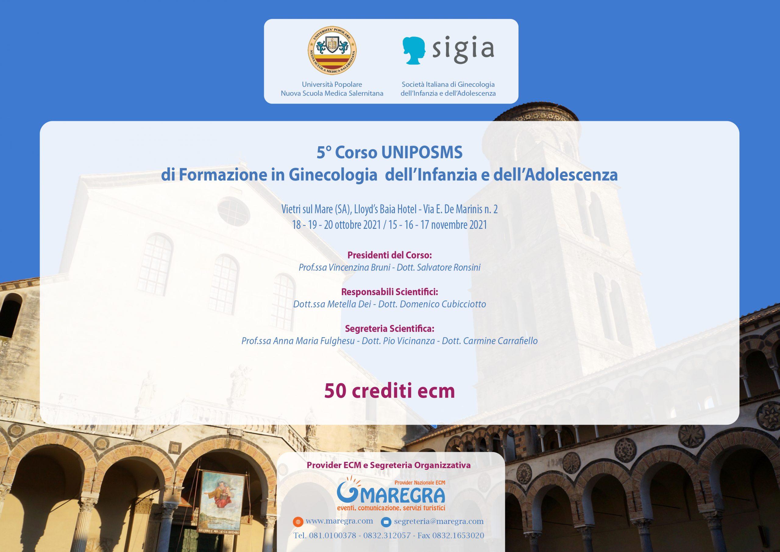5° Corso UNIPOSMS di Formazione in Ginecologia dell'Infanzia e dell'Adolescenza
